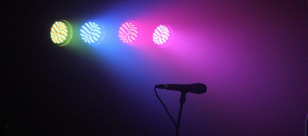 Lights on microphone influencer marketing