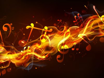 Music notes on fire business growth