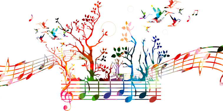 garden and music notes