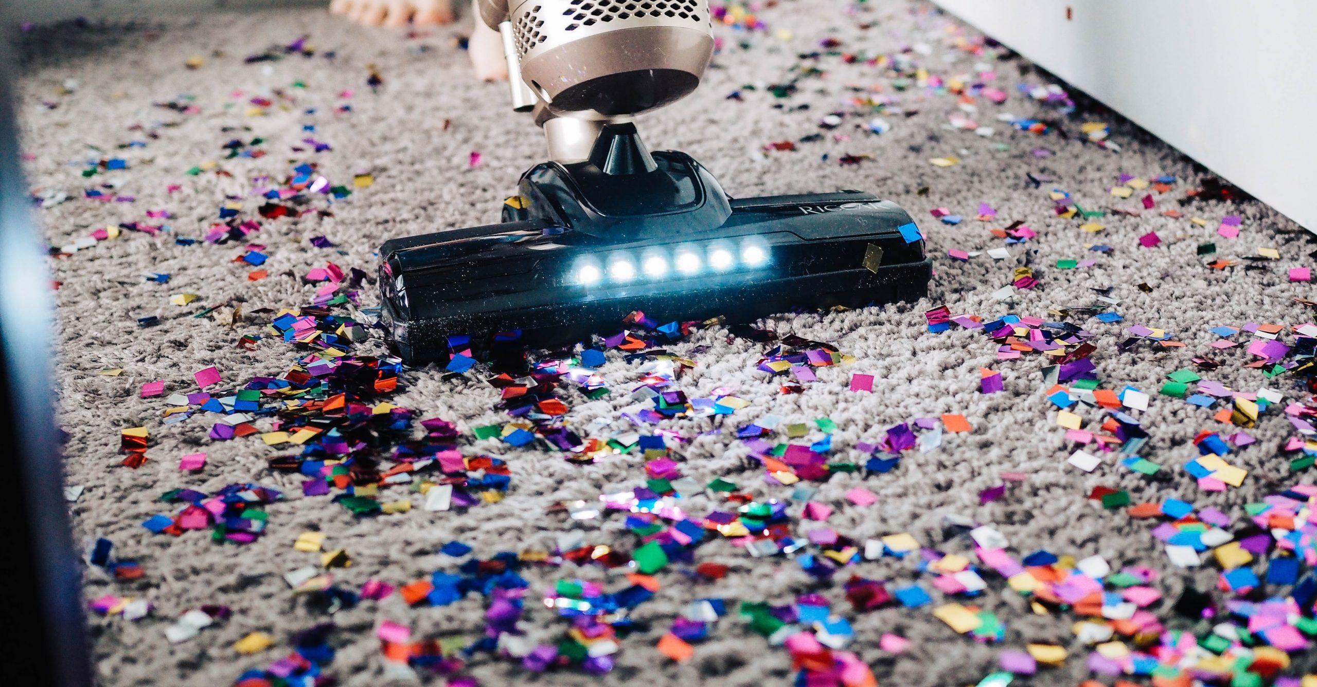 vaccuming confetti marketing spring clean